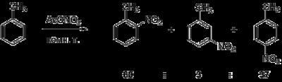 Acetylnitrate toluene reaction