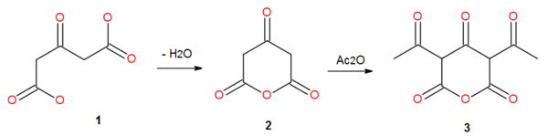Acetonedicarboxylic acid anhydride from acetonedicarboxylic acid.png