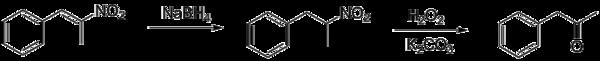 Восстановление фенил-2-нитропропена до фенилацетона борогидридом натрия.