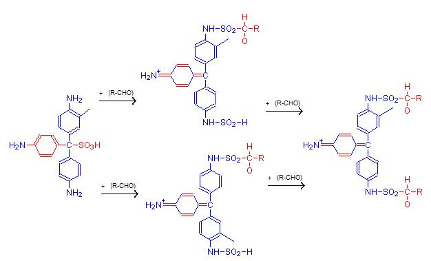 Взаимодействие фуксинсернистой кислоты (реактива Шиффа) с альдегидом